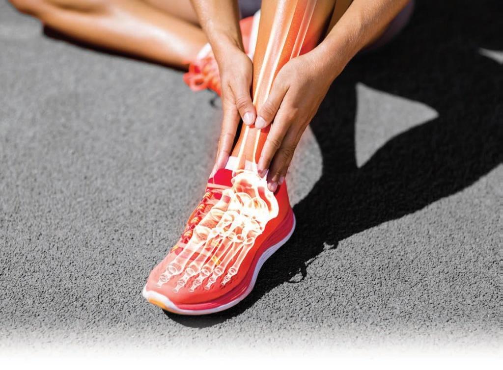 تصویر استخوانهای پا در دونده دچار پا درد